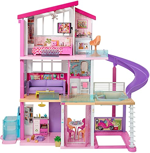 Barbie GNH53 Traumvilla Dreamhouse Adventures Puppenhaus mit 3 Etagen,...