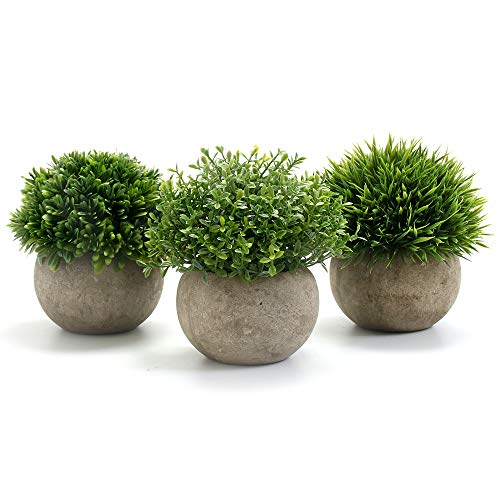 GoMaihe Kunstpflanze 3 Stücke Künstliche Pflanze mit Grauem Topf,...