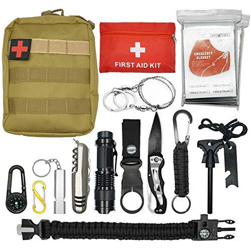 Abida Survival Kit, 15 in 1 Outdoor Emergency Survival Kit mit...