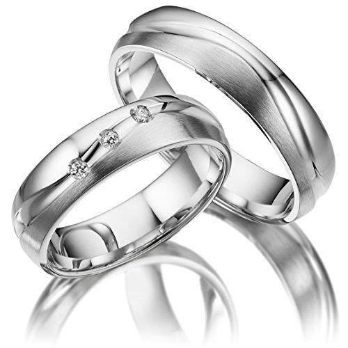2 x Trauringe 925 Silber AG.11 PAARPREIS inkl. Swarovski Crystal und...
