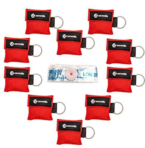 Beatmungsmaske Schlüsselanhänger 10 Stück (rot) - CPR Maske Face...
