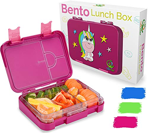 TAKWAY Kinder Bento Box mit Fächern Einhorn lila   Robuste Brotbox...
