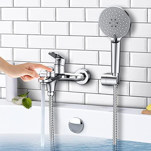 Synlyn Badewannenarmatur mit Handbrause, Druckschalter Badewanne...
