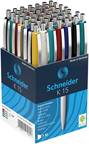 Schneider K15 Kugelschreiber mit blauer Tinte, Farben sortiert,...
