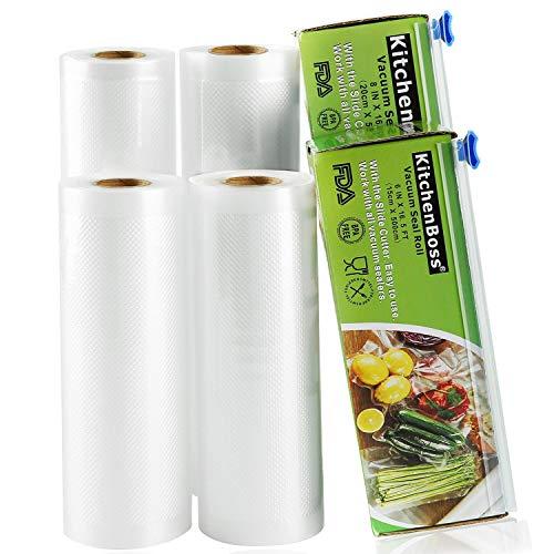 KitchenBoss Vakuumrollen mit Cutter-Box,4 Rollen 15x500 und 20x500cm...