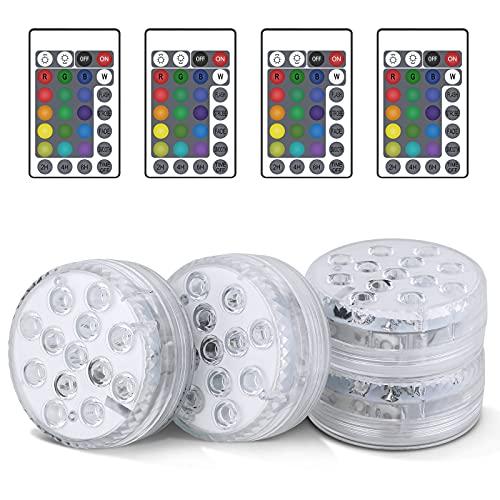 Unterwasser Licht, 4 Stücke RGB Multi Farbwechsel Wasserdichte LED...