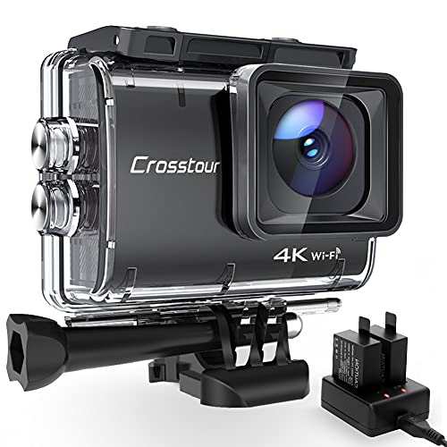Action Cam 4K/50FPS, Crosstour CT9500 Unterwasserkamera, WiFi...