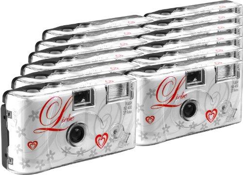 TopShot Love weiss Einwegkamera / Hochzeitskamera (27 Fotos, Blitz,...