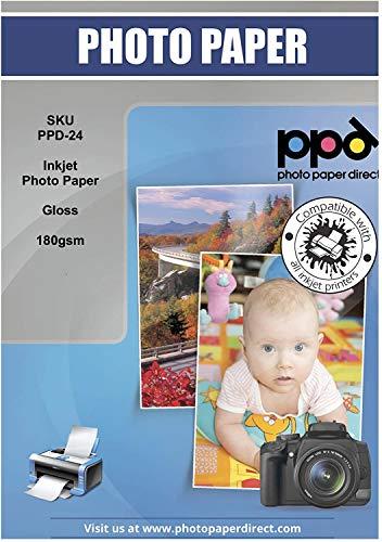 PPD 50 Blatt x A4 Inkjet 180 g/m2 Fotopapier Hochglänzend, Sofort...