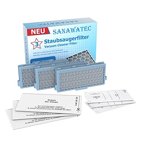 HAYATEC 3x HEBA Filter kompatibel für Miele Staubsauger S8340 S8000...