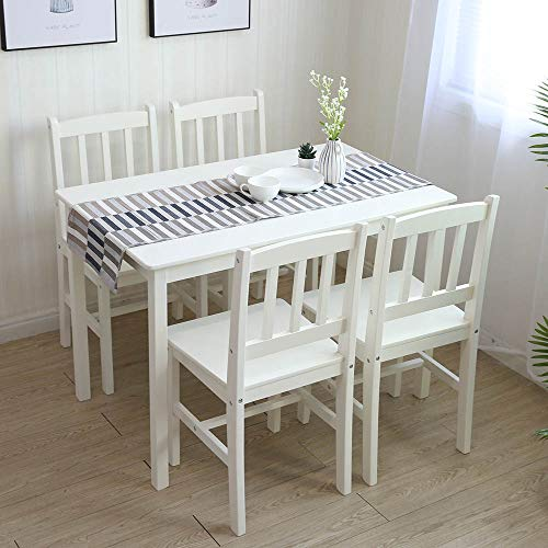 Essgruppe mit 1 Tisch 4 Stühle, Holz Tischgruppe Esstischset...