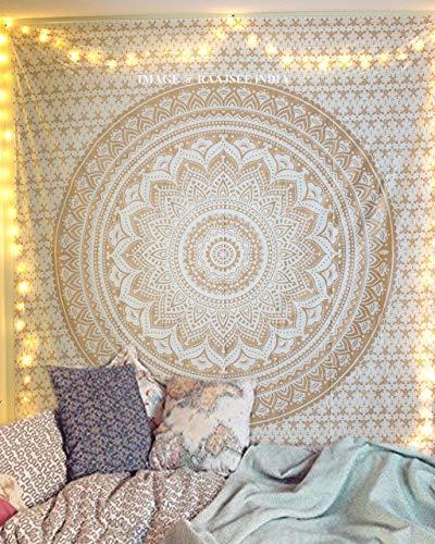 raajsee Indisch Psychedelic Wandteppich Mandala Glänzend Gold weiß,...