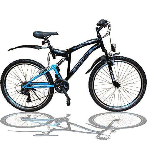 Talson 26 Zoll Mountainbike Fahrrad MIT VOLLFEDERUNG & Beleuchtung...