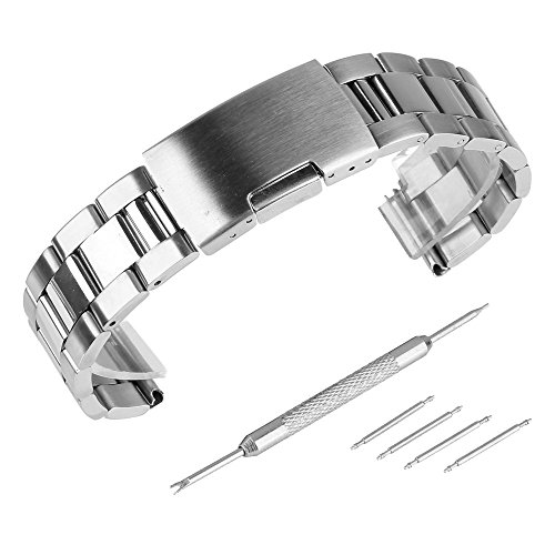 Beauty7 - 22mm Silber Edelstahl Uhrenarmband Uhrenarmbänder mit...