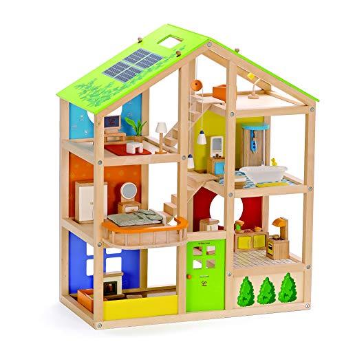 Hape E3401 - Vier-Jahreszeiten Haus (möbliert), Puppenhaus mit...