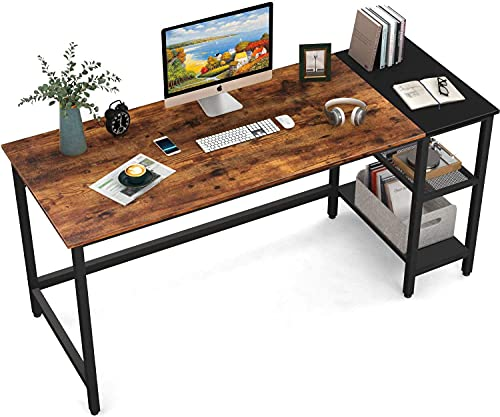 HOMIDEC Schreibtisch, Computertisch PC Tisch mit 3 Tier Bücherregal,...