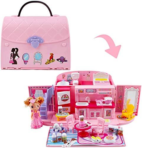 deAO 2-in-1-Spielset für Kinder in Rosa mit tragbarem Puppenhaus,...