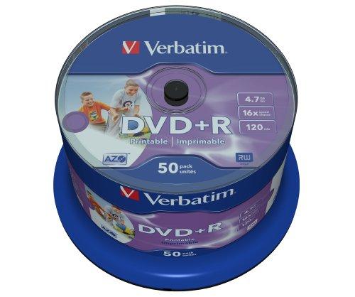Verbatim DVD+R Wide Inkjet Printable 4.7GB I 50er Pack Spindel I DVD...