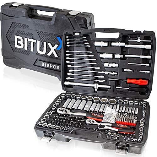 BITUXX® Werkzeugkoffer 215 tlg Werkzeug Knarrenkasten Ratschenkasten...