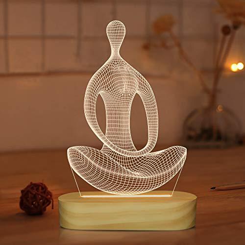 Yoga Lampe LED 3D Kunst Nachtlicht für Mädchen Frauen Meditation...