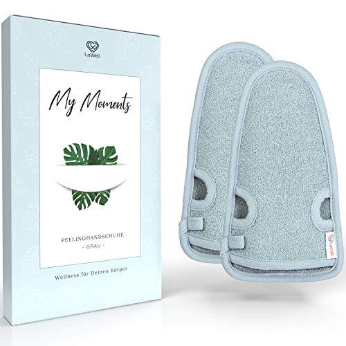 2 Stück - LoWell® - Peelinghandschuh rau inkl. Peeling-Guide + 2 x...