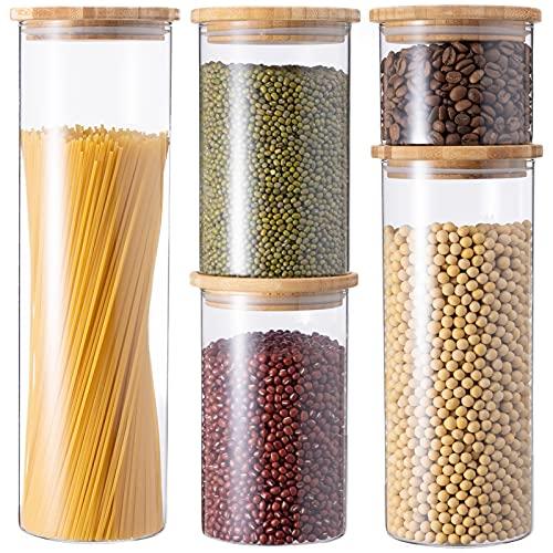 GENICOOK Vorratsdosen aus Glas mit Bambus Deckel Küche 5er-Set...