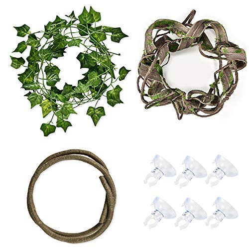 Furpaw Terrarium Kletterpflanzen, 3 Stück Künstliche Pflanze...
