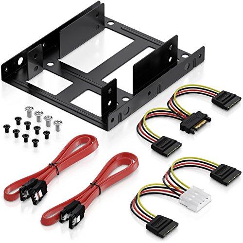 deleyCON Einbaurahmen Set für 2X 2,5' Festplatten SSD's auf 3,5'...