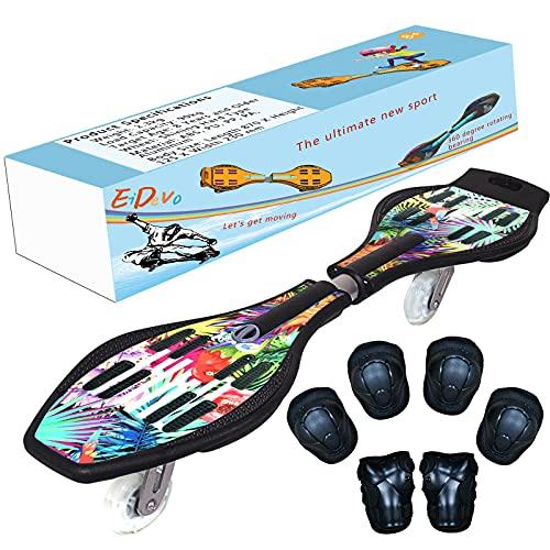 EiDevo Waveboard, Double Wheel Scooter Caster Board mit LED-Aurora...