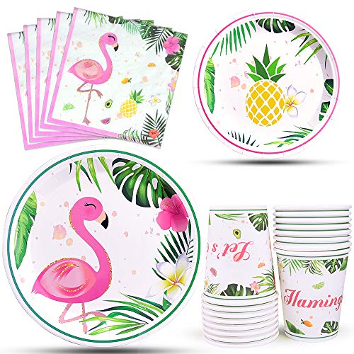 WERNNSAI Flamingo Party Zubehör - Tropische Luau Partydekorationen...