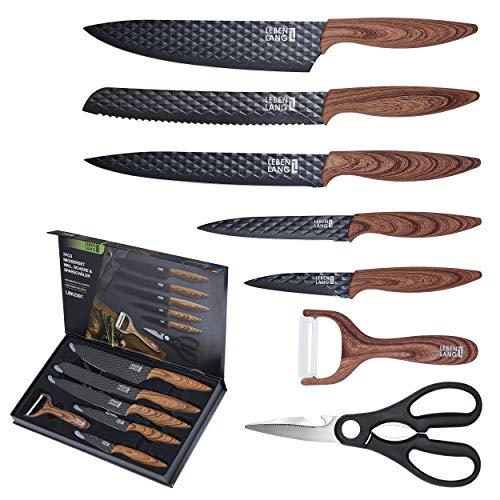 LEBENLANG Küchen Zubehör Messerset 7 teilig mit Schäler &...