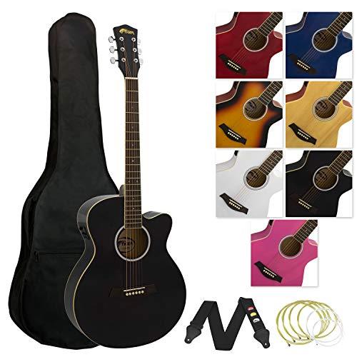 Tiger ACG4-BK Elektro Akustikgitarre, Schwarz