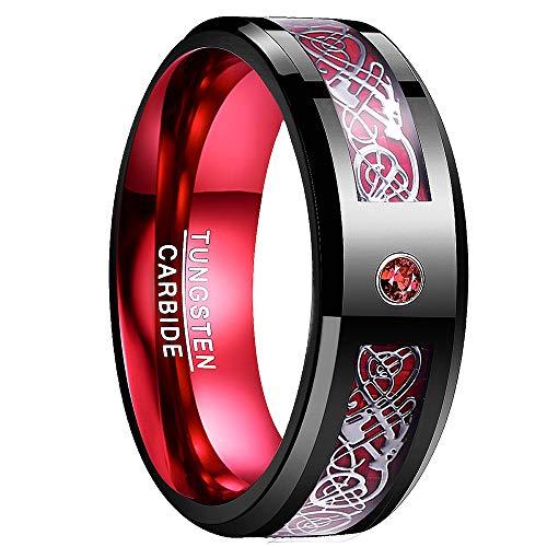 NUNCAD Wolfram Unisex Ring schwarz-rot mit rotem Zirkon und Keltischen...