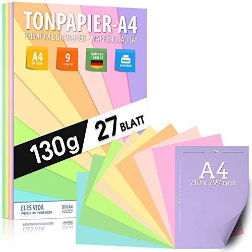 Pastell Tonzeichenpapier DIN A4 - 27 Blatt– 130 g - 9 Farben –...