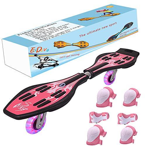 EiDevo Waveboard, Double Wheel Scooter Caster Board mit LED-Blitzrad...