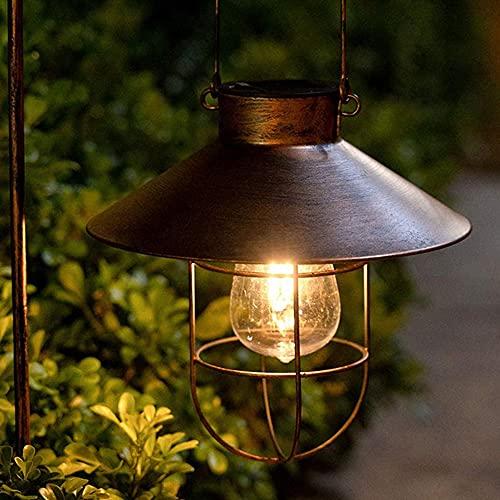 Solarlampen für Außen Hängend, LINTRY Vintage Metall Solarleuchten...