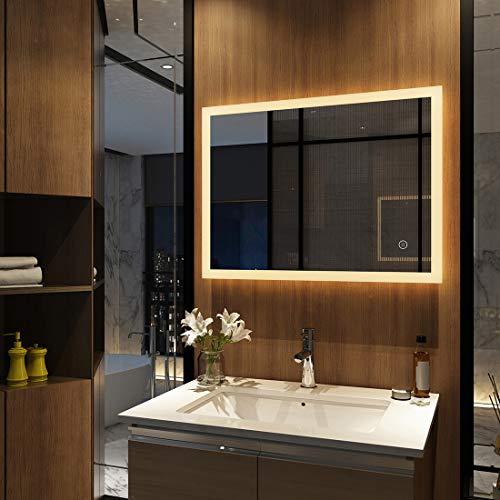 Meykoers Wandspiegel Badezimmerspiegel LED Badspiegel mit Beleuchtung...