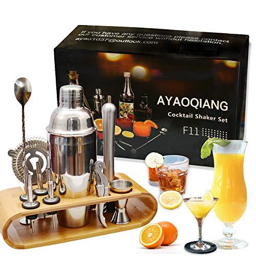AYAOQIANG Cocktail Shaker Set, Edelstahl 12-teiliges Cocktail Bar Set...