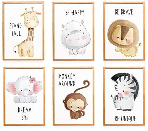 WIETRE® 6er Set Bilder Tiere Kinderzimmer Babyzimmer Deko   Bild...