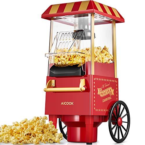 Popcornmaschine Retro, Aicook™ 1200W für Zuhause Popcorn Maschine...