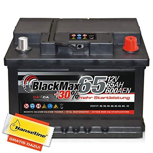 BlackMax Autobatterie 12V 65Ah mit Polfett statt 55Ah 56Ah 60Ah 61Ah...