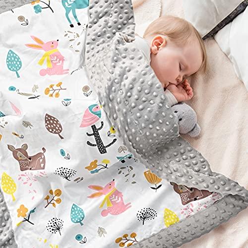 Babydecke 100% Bio Baumwolle, Kinder Kuscheldecke Polar Fleece Baby...