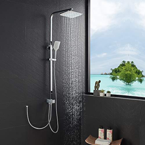 KAIBOR Edelstahl Duschsystem ohne Armatur, Duschset Eckige Kopfbrause...
