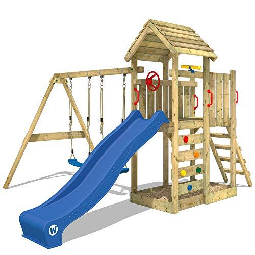 WICKEY Spielturm Klettergerüst MultiFlyer Holzdach mit Schaukel &...