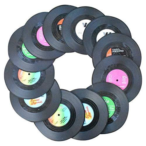 Awtlife 12 Stück Retro CD Schallplatten Vinyl Untersetzer...