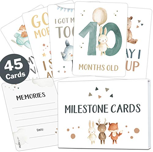45 Baby milestone cards Lino for boys and girls milestone cards set +...