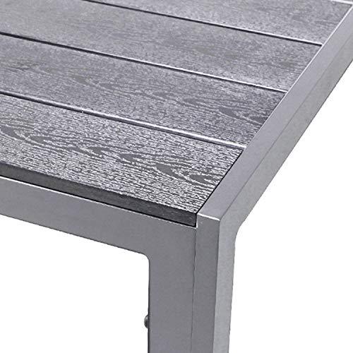 FineHome XL Polywood Gartentisch Aluminium Silber/Grau Esstisch...