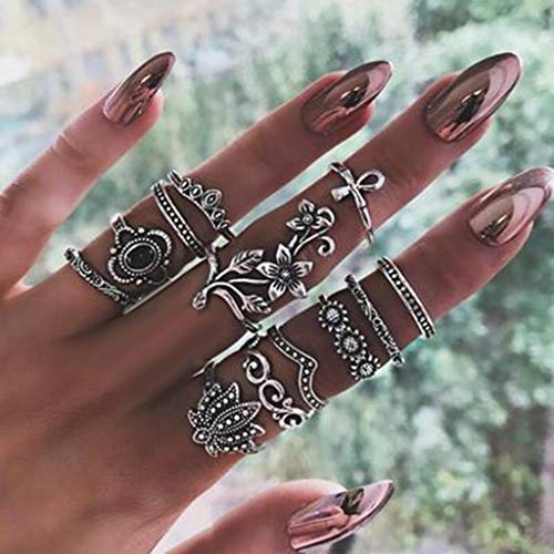 Ring Sets Mode Finger Ringe Knuckle Vintage Silber Stapelbar...