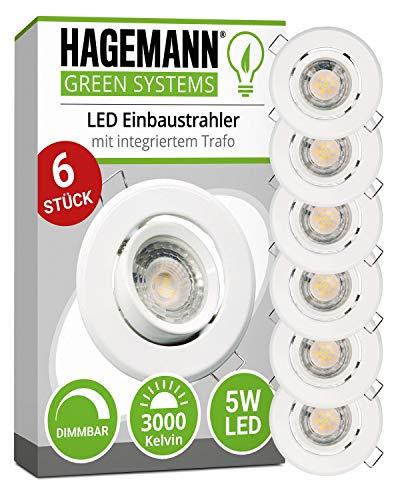 HAGEMANN® 6 x LED Einbaustrahler dimmbar warmweiß 5W 400lm – Ø...