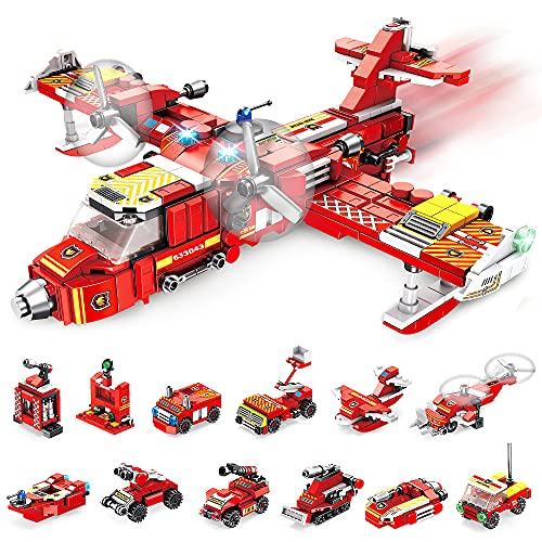 VATOS Feuerwehrflugzeug Bausteine Spielzeug ab 6 7 8 9 10 Jahren für...